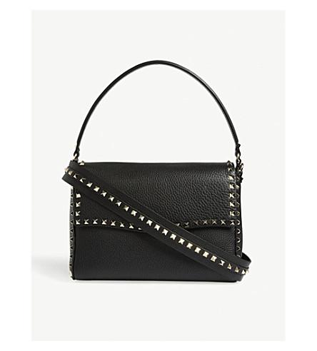 VALENTINO Rockstud grained leather shoulder bag (Black