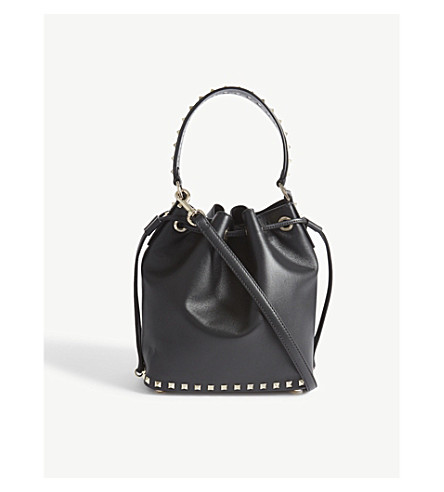 VALENTINO Rockstud leather shoulder bag and pouch (Black