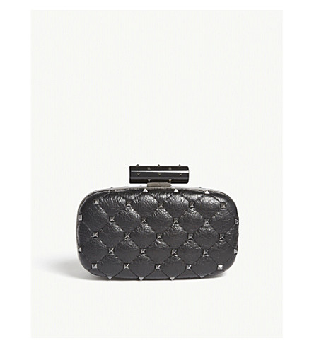VALENTINO Rockstud quilted leather clutch (Black