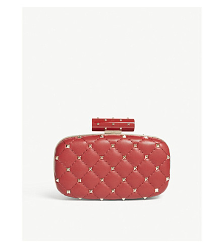 VALENTINO Rockstud quilted leather clutch (Red