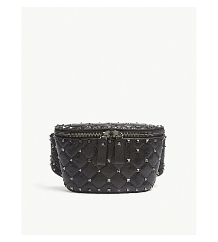 Rockstud leather bum bag