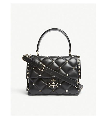 VALENTINO Candy Rockstud quilted leather shoulder bag (Black