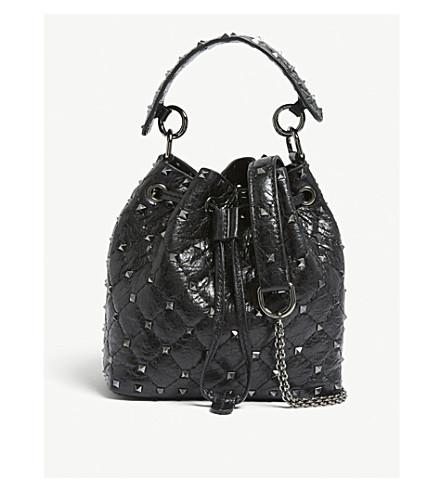 Black bucket Rockstud leather bag VALENTINO bucket Rockstud VALENTINO bag Black leather VALENTINO gqpRnwP