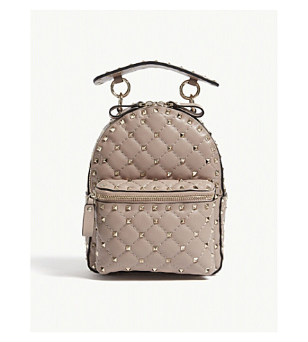 VALENTINO Rockstud small leather backpack (Poudre