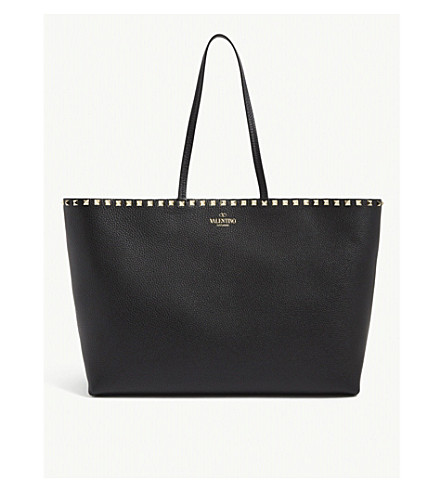 VALENTINO Rockstud grained leather shopper bag (Black