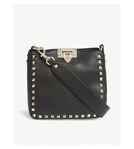 Rockstud grained leather satchel