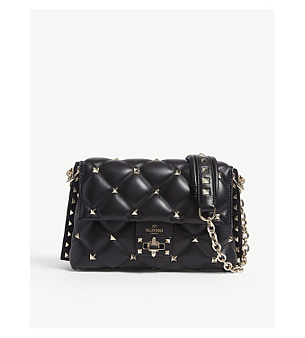 VALENTINO Candy Rockstud leather cross-body bag (Black