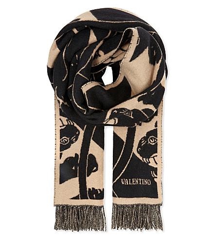 VALENTINO Panther virgin-wool blanket scarf (Beige+black