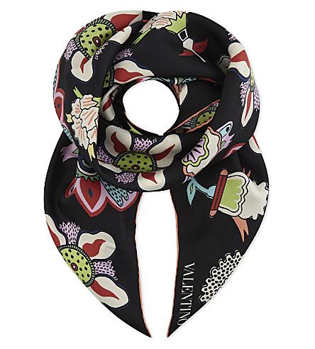 VALENTINO Floral silk scarf (Black