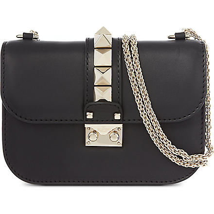 VALENTINO Lock stud leather clutch (Black