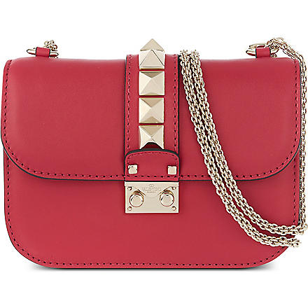 VALENTINO Lock stud leather clutch (Cyclamin