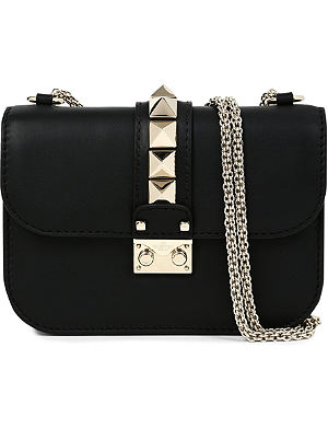 VALENTINO Lock stud leather clutch