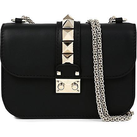 VALENTINO Lock stud leather clutch (Black
