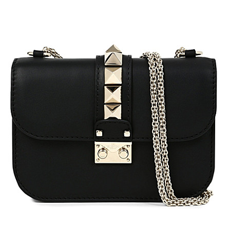 VALENTINO Rockstud lock leather clutch (Black