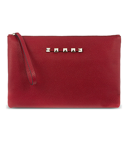 VALENTINO Leather wristlet pouch (Scarlet