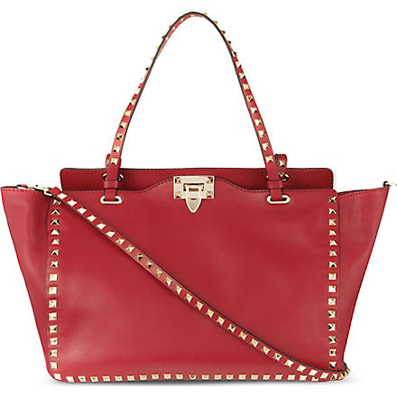 VALENTINO Studded medium tote (Scarlet
