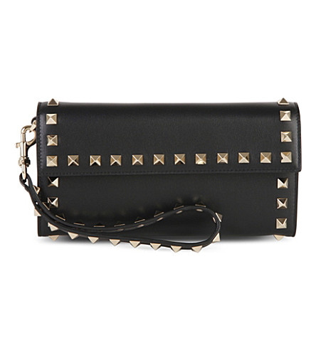 VALENTINO Rockstud Wristlet leather flap pouch (Black