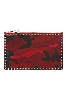 VALENTINO Camo leather studded pouch