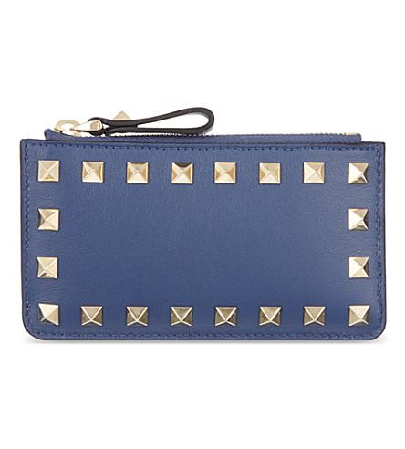 VALENTINO Studded zip card holder (Indigo
