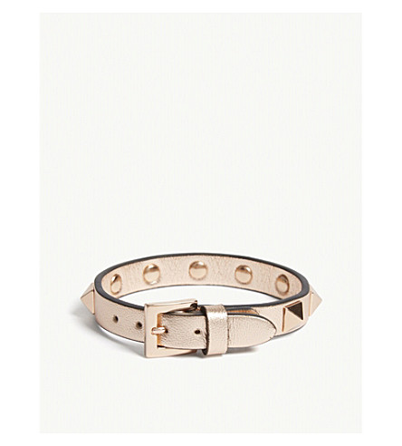 VALENTINO Rockstud leather bracelet (Rose+gold