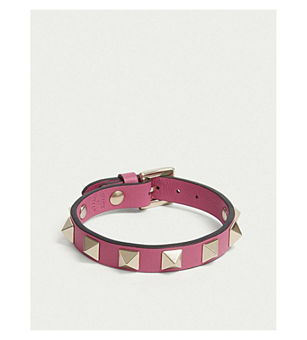 VALENTINO Rockstud small leather bracelet (Pink+orchid