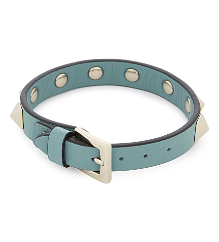 VALENTINO Rockstud small leather bracelet (Aqua