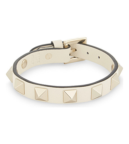 VALENTINO Rockstud small leather bracelet (Ivory