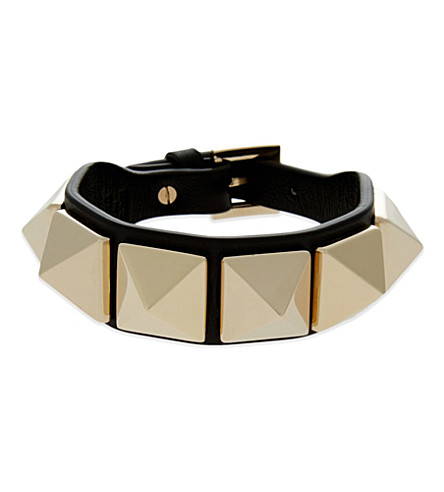 VALENTINO Large Rockstud leather bracelet (Black