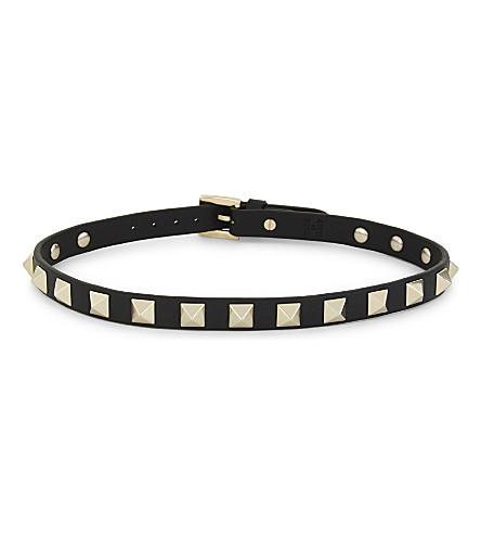 VALENTINO Rockstud leather double bracelet (Black
