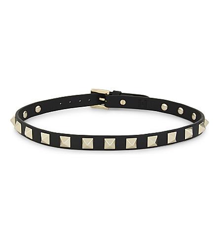 VALENTINO Rockstud leather double bracelet (Black