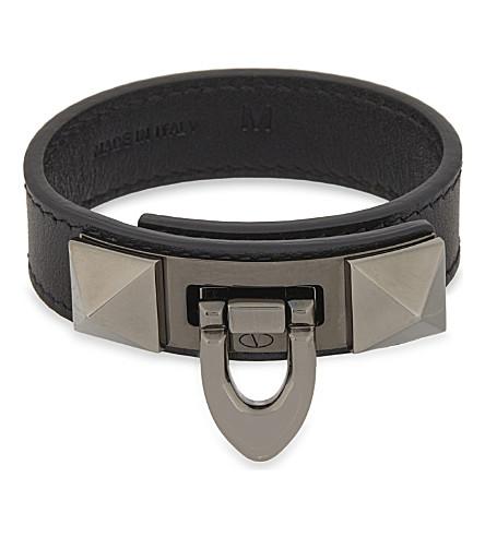 VALENTINO Demi-moon Lock leather bracelet (Black+black