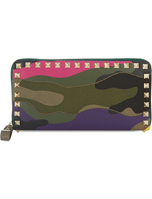 VALENTINO Camouflage studded zip wallet