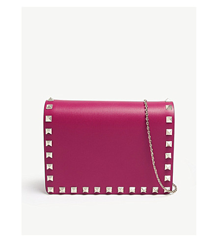 VALENTINO Rockstud leather pouch (Disco+pink