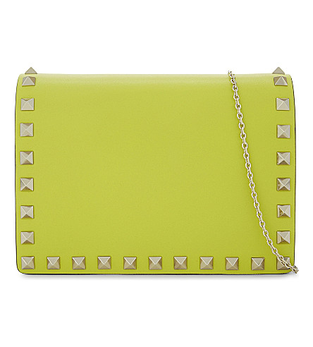VALENTINO Rockstud leather cross-body bag (Acid+yellow