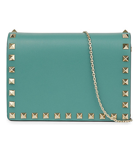 VALENTINO Rockstud leather cross-body bag (Aqua