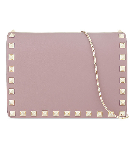 VALENTINO Rockstud leather cross-body bag (Dark+mauve
