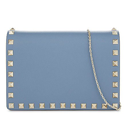 VALENTINO Rockstud leather cross-body bag (Grey+sky