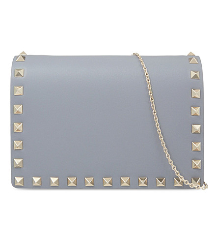 VALENTINO Rockstud leather cross-body bag (Light+stone+blue
