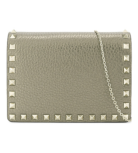 VALENTINO Rockstud leather cross-body bag (Silver+metallic
