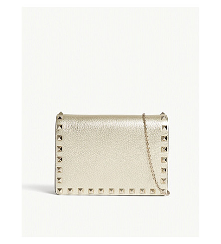 VALENTINO Rockstud cross body metallic-leather wallet-on-chain (Gold