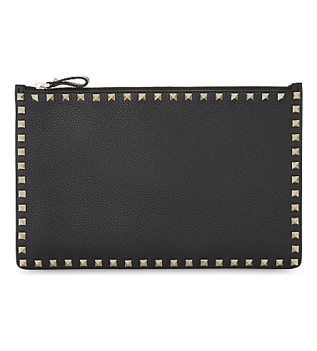 VALENTINO Rockstud medium grained leather pouch (Black