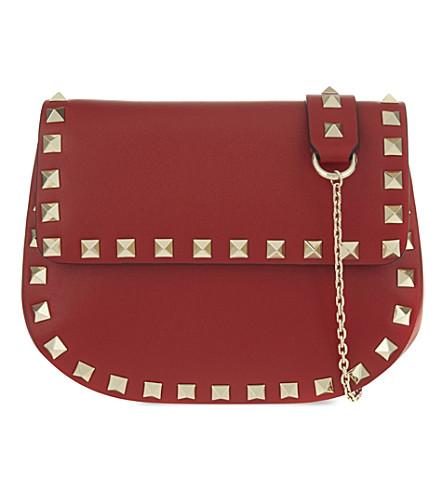 VALENTINO Rockstud leather saddle cross-body bag (Red