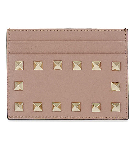 VALENTINO Rockstud leather card holder (Poudre