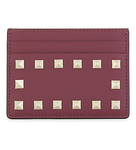 VALENTINO Rockstud leather card holder (Camelia