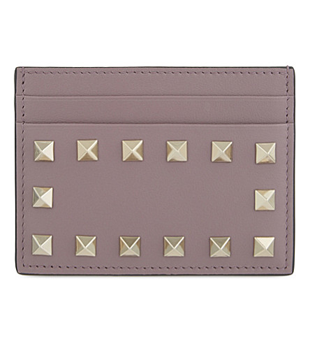 VALENTINO Rockstud leather card holder (Dark+mauve
