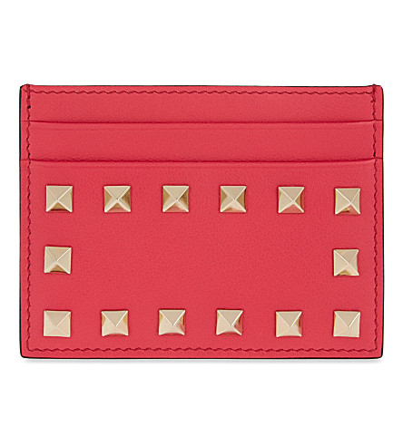 VALENTINO Rockstud leather card holder (Deep+fuxia