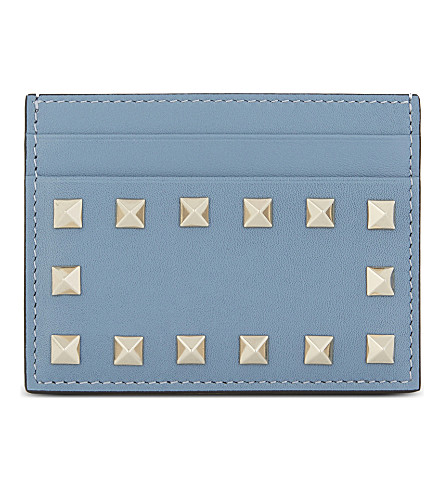 VALENTINO Rockstud leather card holder (Grey+sky