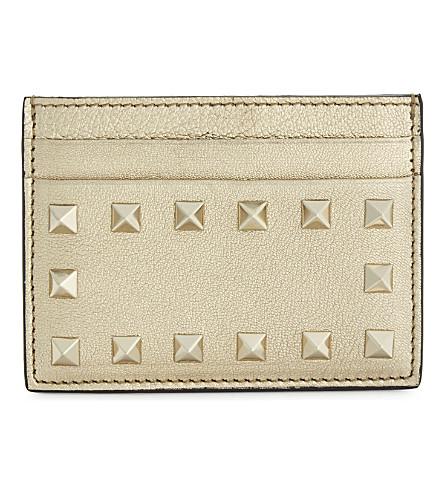 VALENTINO Rockstud leather cardholder (Gold