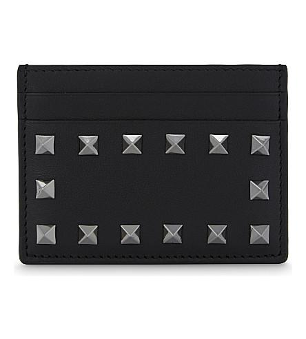 VALENTINO Noir Rockstud leather card holder (Black
