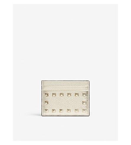 VALENTINO Rockstud metallic leather card holder (Gold